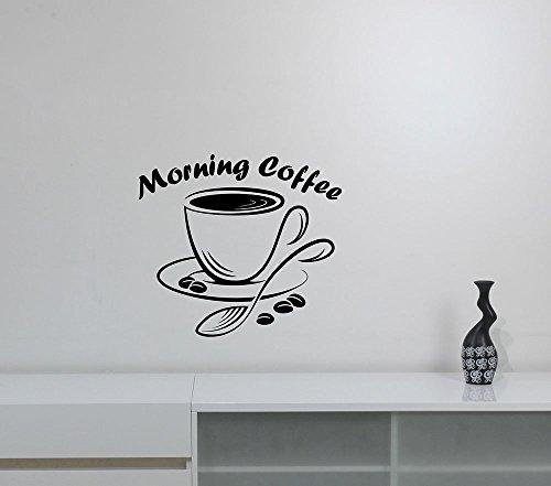 Morning Coffee Cup Decal Vinyl Sticker Modern Logo Art Decorations for Cafe Restaurant Coffeehouse Bar Shop Kitchen Wall Decor Ideas cff7 (Birthday Breakfast Ideas For Boyfriend)