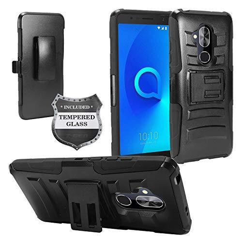 Alcatel 7 Phone 6062W, T-Mobile REVVL 2 Plus (2018), REVVL2 Plus 6062Z - Hybrid Armor Case w/Stand/Belt Clip Holster + Tempered Glass Screen Protector - CV1 Black