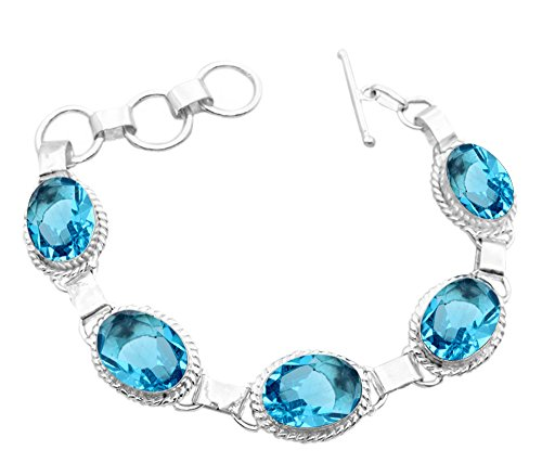 11.50Gms,7.80 Ctw Genuine Blue Topaz Quartz 925 Sterling Silver Overlay Handmade Fashion Bracelet Jewelry