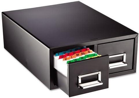 12 5//16 x 16 x 5 3//16 STEELMASTER 263F3516DBLA Drawer Card Cabinet Holds 3,000 3 x 5 cards