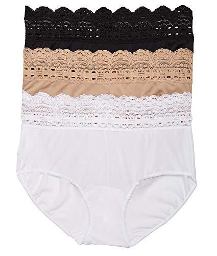 Olga Women's Secret Hugs 3 Pack Hipster Panty, Black/French Toast/White, M