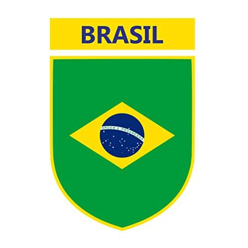 TENNER.LONDON Set of 5 Brazil Crest Iron on Screen Print Fabric Applique Machine Washable Transfer Brasil Flag]()