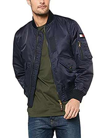 TOMMY HILFIGER Men's Signature Tape Bomber Jacket, Sky Captain, LG