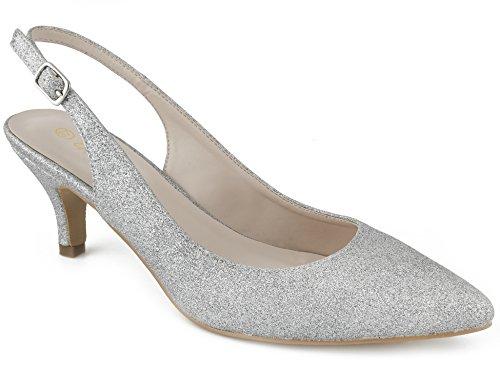 Greatonu Women Court Shoes Sexy Closed Toe Glitter Kitten Heels Silver Comfortable Slingback Dress Pumps Size 9