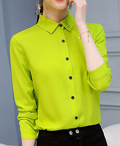 Revers Mode Vert Chemises Manches Automne Femmes Casual Jeune Blouses Shirts Longues Chemisiers Fruit et Printemps Tee Tops Slim Tunique Hauts H7wBnxXqS