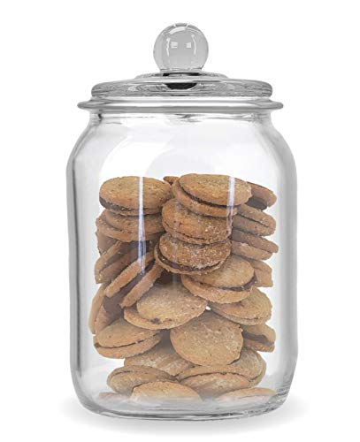 Airtight Glass Cookie and Candy Jar with Lid, Food Storage Jar, Flour and Sugar Canister, Set Of 1 (0.5 -