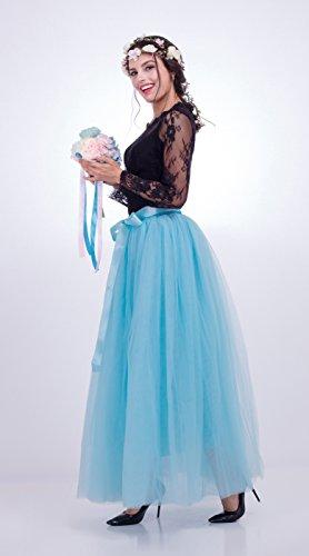 1950 Gonne Maxi d'onore d'onore della 100cm da strati Tutu delle Tulle dell'annata 39 gommate 7 damigella Cielo 4in abito Blu damigella FOLOBE donne dtZgq0tw
