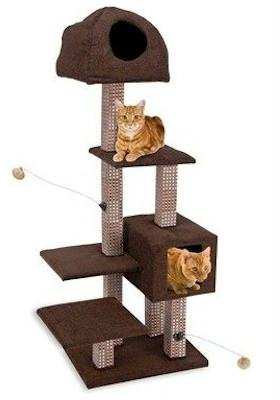Dual Hide-Away & Lounge Tower with Bamboo Rubbing Posts, Brown - 16 x 22 x 59 Inches (WxDxH) (59% Post)