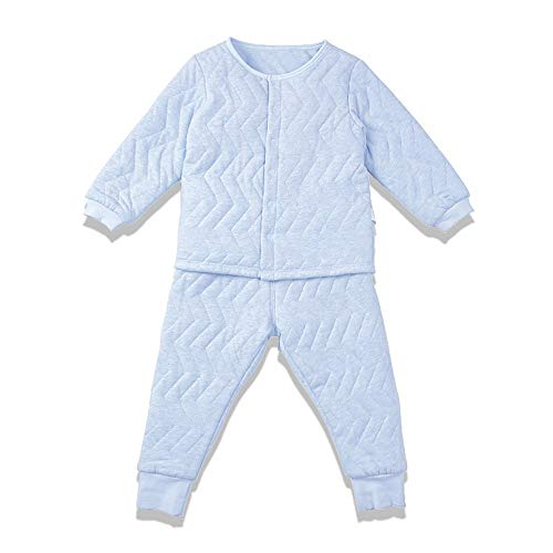 (i-baby Premium Color Yarn Matelasse PIMA Cotton Baby Outfit Set Cashmere Like Cotton Romper Set Long Sleeve Newborn Bodysuit Set, Packed in Nice Box (Blue, 12-18)