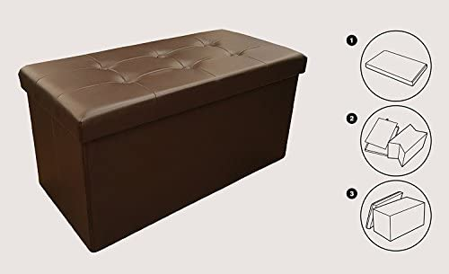 Sodynee New Faux Leather Folding Shoe Storage Ottoman Cubes Bench