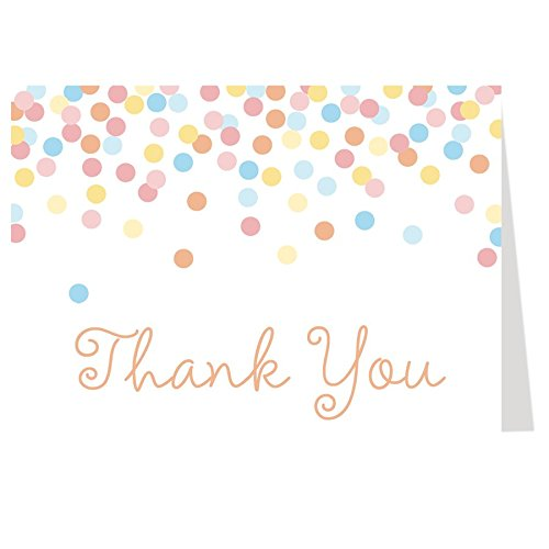 Thank You Card, Baby Shower, Rainbow, Bridal Shower, Pastel, Wedding, Confetti, Birthday Party, Gender Neutral, Block, Pink, Blue, Yellow, Sprinkle, 50 Printed Folding Notes with White Envelopes, (Party Printed Confetti)