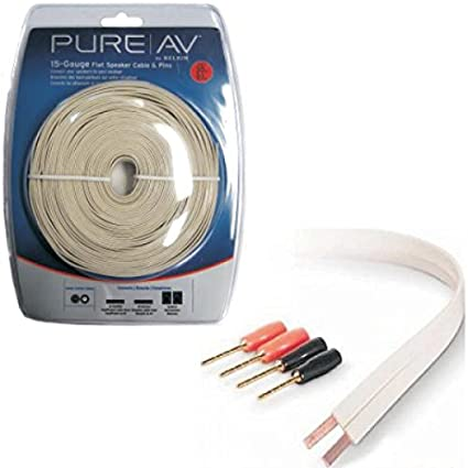 30 ft. Belkin Pure|AV 15AWG Flat Speaker Wire and Pins - 2 Conductor ...