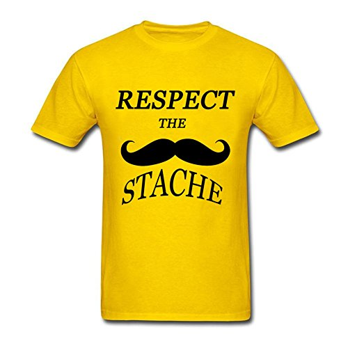 LANKIYA Shirts Adult Men's Respect The Stache Mustache Classical T-Shirt Yellow XXL - Stache Mens Short