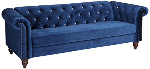 Ashley Furniture Signature Design - Malchin Casual Upholstered Sofa with Faux Crystal Button Tufting - RTA Sofa in a Box - Navy - CHESTERFIELD SOFA: Feeling star struck yet? We are with this timeless Chesterfield design. Chic detailing such as the rolled arms and diamond tufting provide that luxe finish you crave STYLISH COMFORT: High-resiliency foam cushions are wrapped in supple polyester with faux crystal button tufting. Designed with black nickel nailhead trim and exposed feet with a faux wood finish DEEP NAVY: Fashionistas rejoice-elevated style is brought to the forefront with this elegant shade of blue in your living room - sofas-couches, living-room-furniture, living-room - 41QnUyTVtML -
