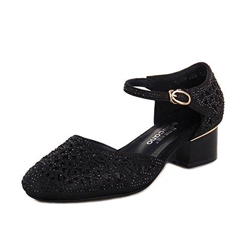 Verano Neto Hilados Sandalias Baotou/Inserto Transpirable Taladro Zapatos De Tacón Hueco A