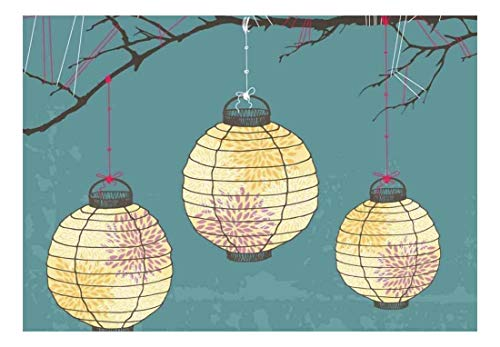 wall26 - Vector Japanese Lanterns with Designs Hanging on Branches - Wall Mural, Removable Sticker, Home Decor - 66x96 inches