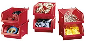 Stack-On BIN-6 Parts Storage Organizer Bins, 6 Pack, Red