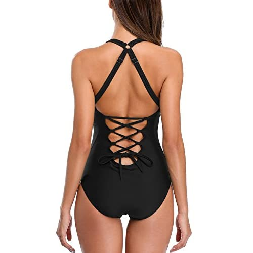 b476705baa408 high-quality beautyin Womens Lace up Back One Piece Bathing Suit Deep  Plunge Padded Swimsuit