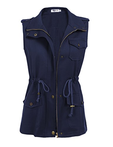 tring Anorak Jacket Military Vest w/ Pockets (S, Navy Blue) ()