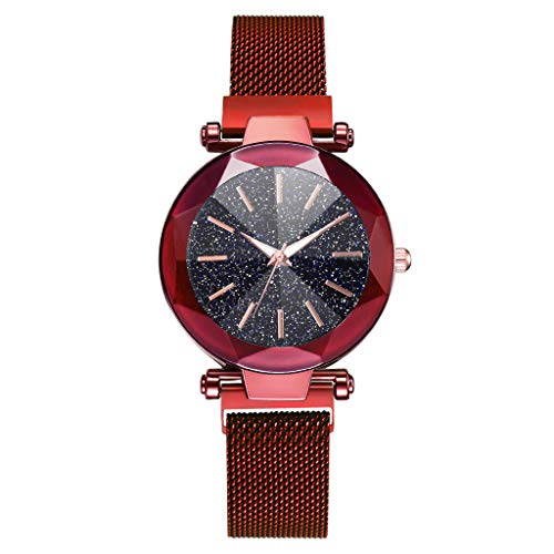 WoCoo Womens Starry Quartz Analog Watch Crystal Convex Dial Wristwatch with Stainless Mesh band Fashion Watches(Red,12 Scales)