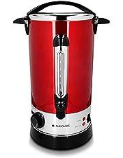 Navaris glühwein kooktoestel warm water dispenser roestvrij staal - 10l - met thermostaat vulstand kraan - glühwein warme drank dispenser rood