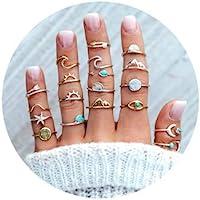 7-19pcs Silver Star Moon Knuckle Ring Set for Women Girls Vintage Stackable Midi Finger Rings Set