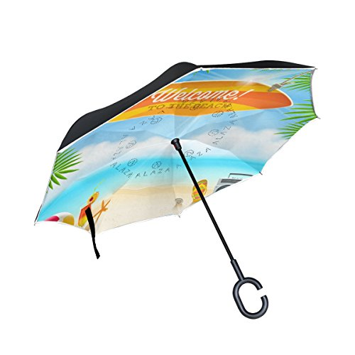 ALAZA Double Layer Inverted Beach Things And Old Surfboard With Greeting Umbrella Cars Reverse Windproof Rain Umbrella for Car Outdoor With C Shaped - Stroller Surf