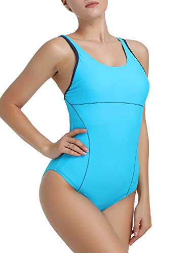 Joyaria Womens Athletic Racerback One Piece Swimsuits Traning Racing Bathing Suit Sport Swimwear (Light Blue, Small)
