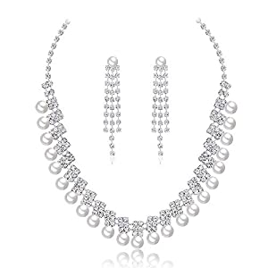 Jewelry Set for Women Crystal Party Wear Pearl Necklace Set For Women Jewellery Set With Earrings For Women Girls Earrings Necklace Set (Color : White, Size : Free size)