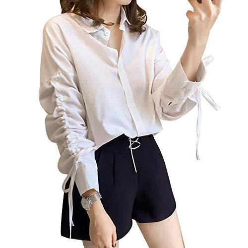 Casuale Blusenshirts Lunga Da Il Elegante A Ufficio Donna Ampia Fashion Risvolto Donne Camicia Camicetta Con Per Bianca Top Tempo Vestibilità Libero Manica KlF13uJTc