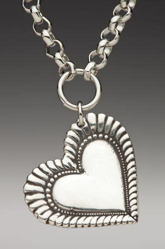 Silver spoon heart pendant on a sterling silver chain