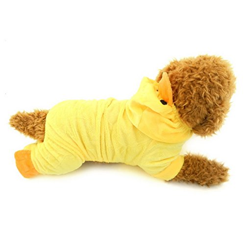 SELMAI Party Halloween Yellow Duck Costume Hooded for Small Dog Cat Puppy Xmas Fleece Hoodie Jumpsuit Pajamas Size -