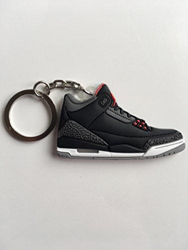 Jordan 3 Cement - Jordan Retro 3 Black Cement Sneaker Keychain Shoes Keyring AJ 23 OG
