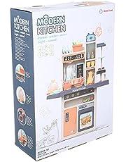 Beibe Good 889-161 Modern Kitchen Playset with Light & Sound, 65 Pieces - Beige & Orange