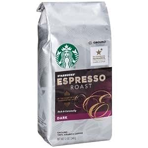 Starbucks, Dark Roast, Espresso Roast Ground Coffee, 12oz Bag (Pack of 2)