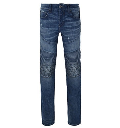 True Religion Men's Rocco Relaxed Skinny Classic Moto Jeans In Endless Road (Blue) (32)