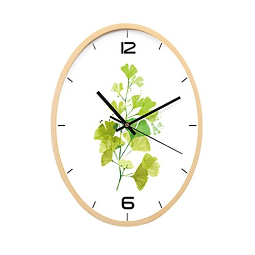 Wall Clock FJH Modern Decoration Green Leaves Oval Living Room Quartz Clock Mute Art