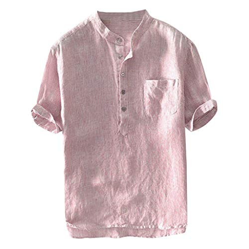 iYBUIA Men's Linen Shirts Short Sleeve Henley Shirt Button Pocket Tees Cotton T-Shirts Plain Mandarin Collar Blouses Red