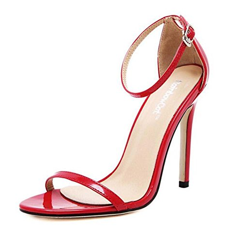 La bomba 11 cm Stiletto Open Toe D'orsay Ankel sandalias de correa Zapatos de boda Zapatos de vestir Simple Pure Color Belt Buckle OL Court Shoes Eu Tamaño 34-43 Rojo
