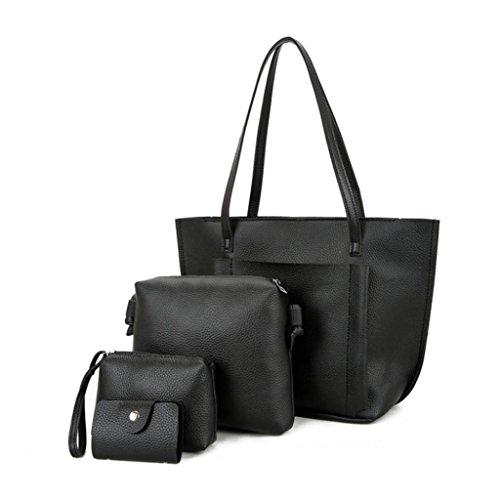 Livecity 4 Pcs/Set Women Faux Leather Cross Body Shoulder Bag Handbag Card Holder Clutch Black