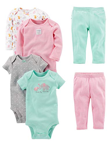 Simple Joys by Carter's 6-Piece Bodysuits (Short Long Sleeve) And Pants Set Bimba 0-24 3