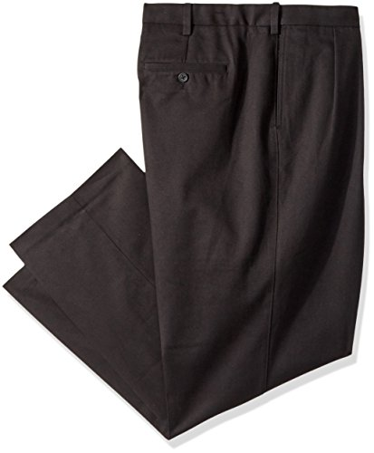 Savane Men's Big & Tall No Iron Comfort Waist Pleat Front Performance Chino, Black, 46x32 - Pleats Straight Leg Trousers