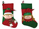 Santa's Workshop Elf, 2 Assorted Stockings 19'' Tall Red/Green
