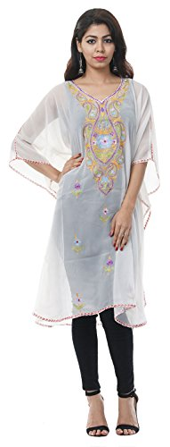 Odishabazaar Free Size Tunic Casual Georgette Kashmiri Kaftan Party Wear Dress For Women - At Plains Mall Stores White
