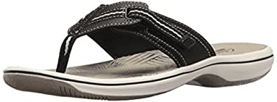 CLARKS Women's Brinkley Jazz Flip Flop, Black Synthetic, 5 M US