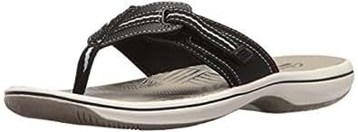CLARKS Women's Brinkley Jazz Flip Flop, Black Synthetic, 5 M US