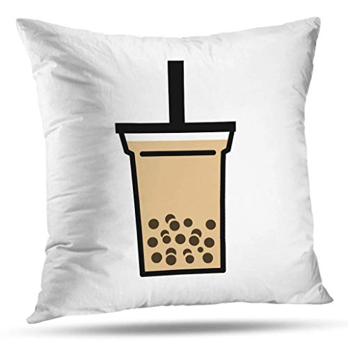 Decorative Pillows 16 x 16 Inch Throw Pillow Covers,Bubble Boba Pearl Milk Tea Tapioca Balls Pattern Double-Sided Decorative Home Decor Indoor Garden Sofa Bedroom Car Kitchen Nice Gift from Kutita
