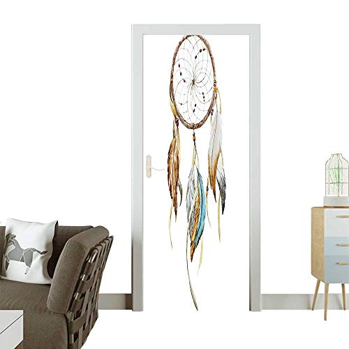 (Modern Art Door Sticker Boho Dream Hoop Spider Knitting Legendary Protective Charm Environmentally Friendly decorationW35.4 x H78.7 INCH)