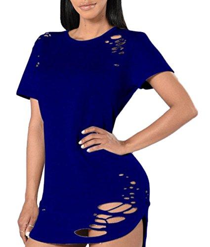 Camicie Estivo Sexy Collo Donna Unita Lungo Blouse T Tinta Fr Maniche Mini Shirt Fox Blu ulein Tops a Abito Tubino Maglietta Strappati Corte Rotondo qCxHqwEB