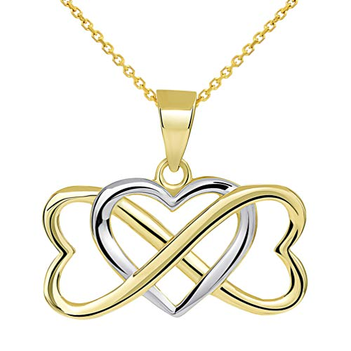 14k Yellow Gold Two Tone Interlocking Triple Heart Infinity Love Symbol Pendant Necklace, 22